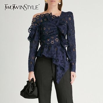 TWOTWINSTYLE Lace Shirts Blouse Female Long Sleeve Off Shoulder Hollow Out Asymmetrical Tops Female Autumn 2018 Sexy Fashion