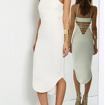 White Ladder Back Cami Dress