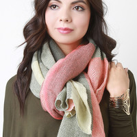 Muted Multicolor Plaid Thin Knit Scarf