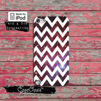 Chevron Pattern Galaxy Space Pattern Cute Custom Case iPod Touch 4th Generation or iPod Touch 5th Generation Rubber or Plastic Case