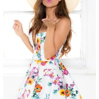 Cut Me Deep Dress in White Floral