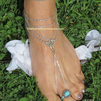 Pair, Barefoot Sandal, Body Chain Jewelry, Body, Jewelry, Barefoot Sandles, Footless Sandles, Celtic Jewelry, Celtic Knot, Sandal
