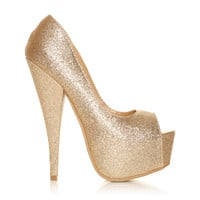 PEEPTOE Champagne Glitter Stiletto Very High Heel Platform Peep Toe Shoes