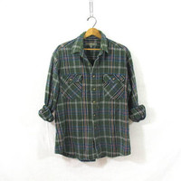 Vintage Plaid Flannel / Grunge Shirt / Thick green cotton button up shirt / XL