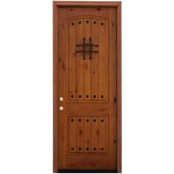 Pacific Entries, Flush Stained Knotty Alder Wood Entry Door with 6 in. Wall Series and 8 ft. Height Series, A51R-86 at The Home Depot - Tablet