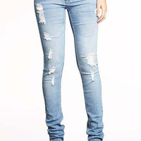 Paris Blues Destructed Skinny Jean at Alloy