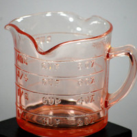 Pink Depression Glass Kellogs 3 Spout Measuring Cup