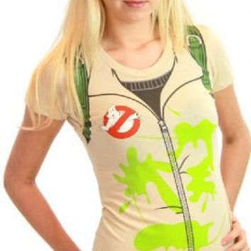 Ghostbusters Juniors Tan Backpack print on Back Costume T-Shirt - Ghostbusters - | TV Store Online