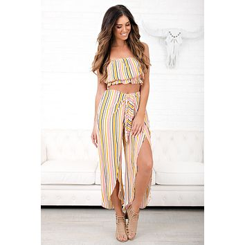 Chase The Sun Striped Two Piece Set (Multi Color)