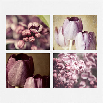 Purple Home Decor Set, Radiant Orchid Purple Flower Prints, Soft Lilacs Tulips, Pastel Purple Art, Purple Flower Pictures, Set of 4 Flowers.