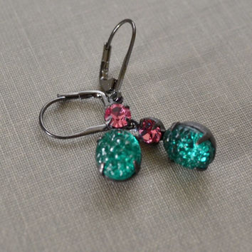 Emerald and Pink Rhinestone Earrings, Estate Earrings, Lever Back, Pink and Green Vintage Gunmetal Earrings, Druzy Glass, Bridesmaid Gift