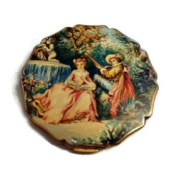 Summer Lovers Vintage Stratton Compact 50's Romantic Face Powder Compact Case Mirror Victorian Love Romance Serenade Beauty Vanity Compacts