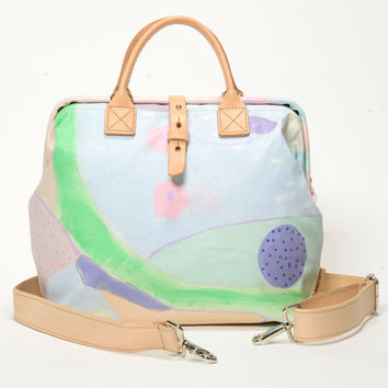 Bright Pastel Bag, Unique, Statement Handbag / Organic fabric / One of a kind Purse / Colorful Handmade Mason Bag