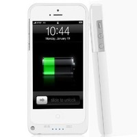 2200mAh Extended Battery Case Back Up Power Bank for iPhone 5 / 5S Back Up (iOS 7 or above Compatible) + Lightning Charging Port + Kick Stand + Slim Fit Slider Design + Full Body Protection + On/Off Switch LED Battery Level Indicator, Compatible with AT&T,