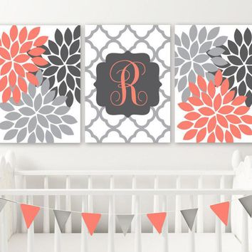 CORAL GRAY Flower Girl Monogram Nursery Decor, Girl Monogram Nursery Wall Art, Coral Gray Bedroom Flowers Monogram Canvas or Print Set of 3