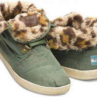 Highlands Green Leopard Fleece Women's Botas | TOMS.com