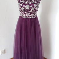 2015 Cap Sleeves V-back Grape Tulle Beaded Long Prom Dress