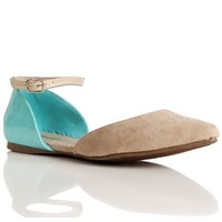 Sale-natural/mint Ankle Strap Flats