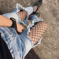Vintage Ripped Hole Loose Jeans For Women