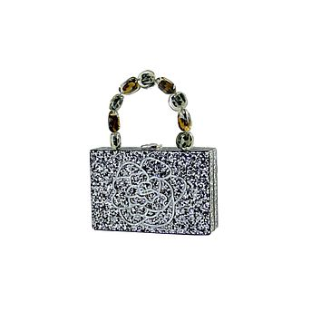 Black Silver Glitter Rose Acrylic Box Clutch Leopard Handle Bag