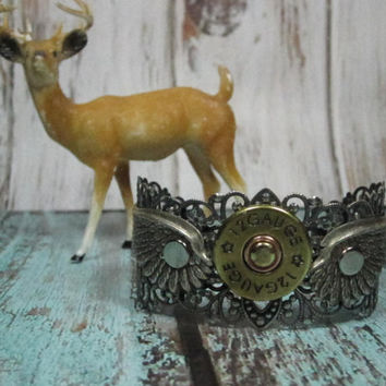 Cowboys & Angels Shotgun Shell and  Angel Wing Antique Silver Filigree Cuff