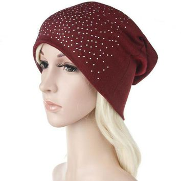 DCCK8JO Fashion Rhinestones Women Hat Hot Drilling Cotton Hip Hop Hat Beanie Turban Head Wrap Cap Solid Gorro Feminino