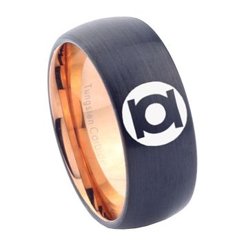 10mm Green Lantern Dome Tungsten Carbide Rose Gold Band Ring