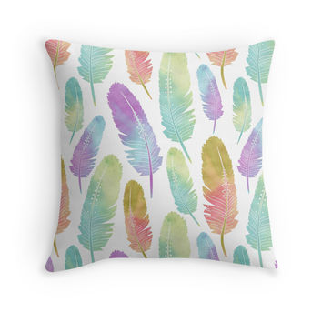 Boho Feather Pattern Watercolor Rainbow