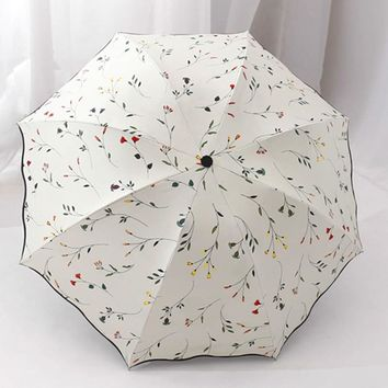 Chic Floral ANTI-UV Foldable Umbrellas Sun Compact Women Female Ladies Lady Windproof Rain Lovely Flower Candy Colorful Umbrella