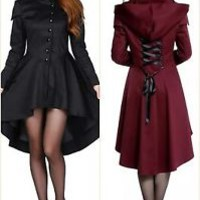 GOTHIC Victorian Vintage Gypsy Bustle Retro Hooded Jacket Coat Size 8-30 UK Sell