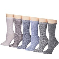 Tipi Toe Women's Ragg Cotton Lightweight Crew Boot Socks (6 or 12 pairs)