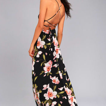 Adventure Seeker Black Floral Print Maxi Dress