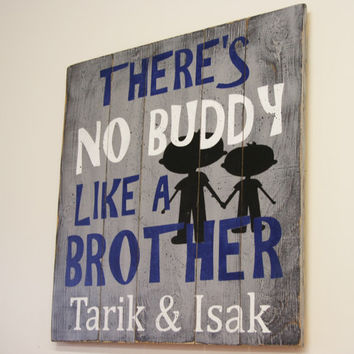 There's No Buddy Like A Brother Pallet Sign Gray and Navy Boys Bedroom Decor Rustic Boys Bedroom Handmade Handpainted