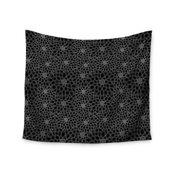 "Julia Grifol ""Black Flowers"" Dark Floral Wall Tapestry"