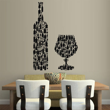 Wall Vinyl Sticker Decals Decor Art Wine champagne Kitchen Wine Bottle Glass (z2099)