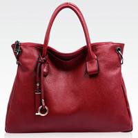 Genuine Leather Fashionista Charms Burgundy Leather Tote. Dark Red Leather Handbag Weekend Bag