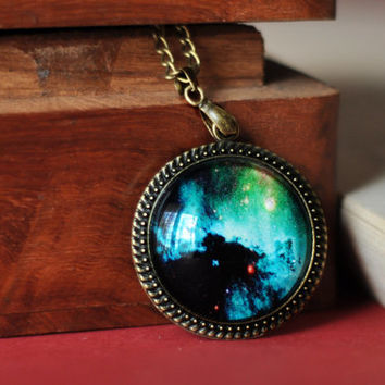 Green Galaxy Mystical Necklace Space Glass Dome Pendant Sealed With Resin