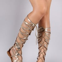 Qupid Metallic Strappy Cage Lace Up Gladiator Flat Sandal