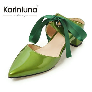 KARINLUNA NEW Big Size 31-48 Pointed Toe Riband Lace Up Women Mules Pumps Square Med Heels Sweet Dating Shoes Woman