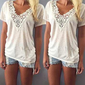 Summer casual top tee shirt lace v neck