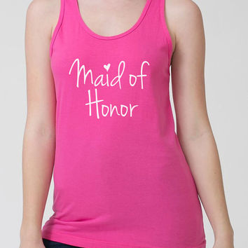 Maid Of Honor Tank Top Wedding Tank Bachelorette Party Bridal Shower Tank Bridesmaid Bride Team Bride American Apparel Ladies Tank - SA60