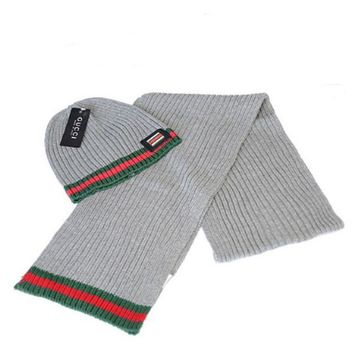 ONETOW GUCCI Fashion Winter Knit Women Men Beanies Scarf &Cap