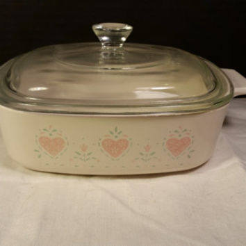 Corning Ware 1Quart/ 1 Liter Forever Yours With Lid, Pyrex Lid on Forever Yours Hearts Corning Ware Oven Range Microwave Safe
