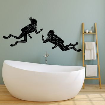 Vinyl Wall Decal Scuba Diving Underwater Funny Bathroom Decor Stickers (2454ig)