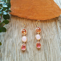 Three Tone Pink Dangle Earrings