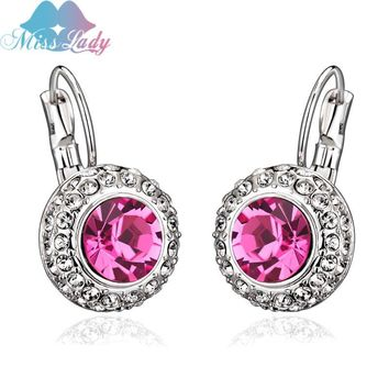 Gorgeous Austrian Crystal Drop Earrings.   Available in Silvertone and Goldtone.   In Colors:  Sea Blue, Rose, Purple, Green, Violet, Red, Peach, Deep Blue and Deep Green.   ***FREE SHIPPING***