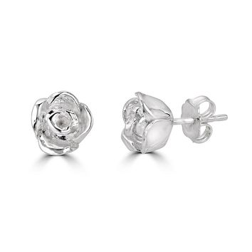 Blossoming Rose Earrings-Sterling Silver