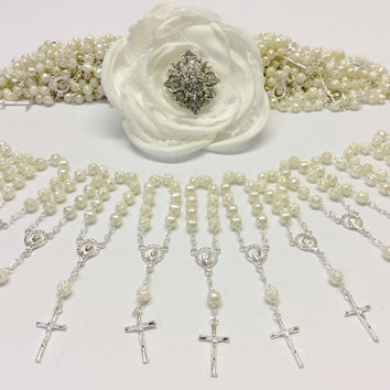 200 pieces, Pearl First communion favors, Recuerditos Bautizo 200pz/ Mini Pearl Rosary Baptism Favors 200 pcs