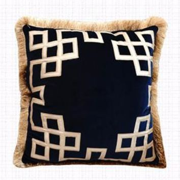 """Blue Triomphe Pillow Embellished With Trim 20""""X20"""""""