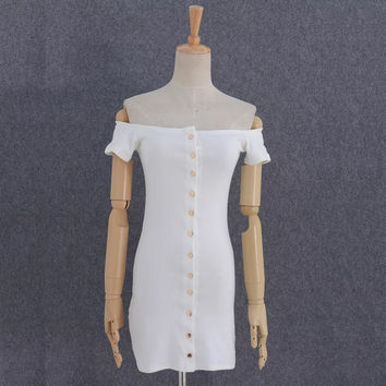 European and American fashion gold buckle a word shoulder dress with short sleeves